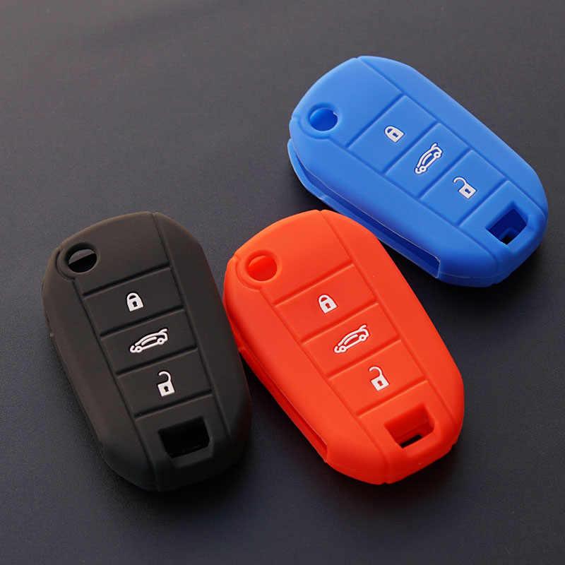 Silicone car key fob bìa trường hợp set shell bảo vệ cho Peugeot 3008 308 508 408 RCZ 2008 407 307 4008 lật gấp từ xa sửa chữa