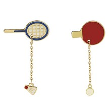Fashion Brooch Pin Badges Unique Design Badminton Racket & Ping Pong Paddle Red Enamel Brooches For Women Men(China)