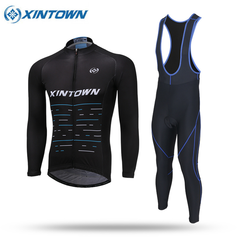 XINTOWN Team Mens Cycling Clothing Bike Bicycle Long Sleeve Jersey Jacket And Tights Pants Spring Autumn Bike Equipments