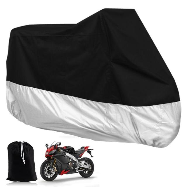 Big Size XXXL 295*110*140cm Black Silver Motorcycle Cover Outdoor Protection Weatherproof UV Resistant Motor Cover Scooter