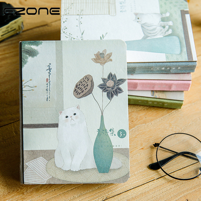 EZONE Cute Cratoon Notebook Traveler Journey Memo Pad Printed Kawaii Cat Flowers Leaves Note Book Notepad School Office SupplyEZONE Cute Cratoon Notebook Traveler Journey Memo Pad Printed Kawaii Cat Flowers Leaves Note Book Notepad School Office Supply