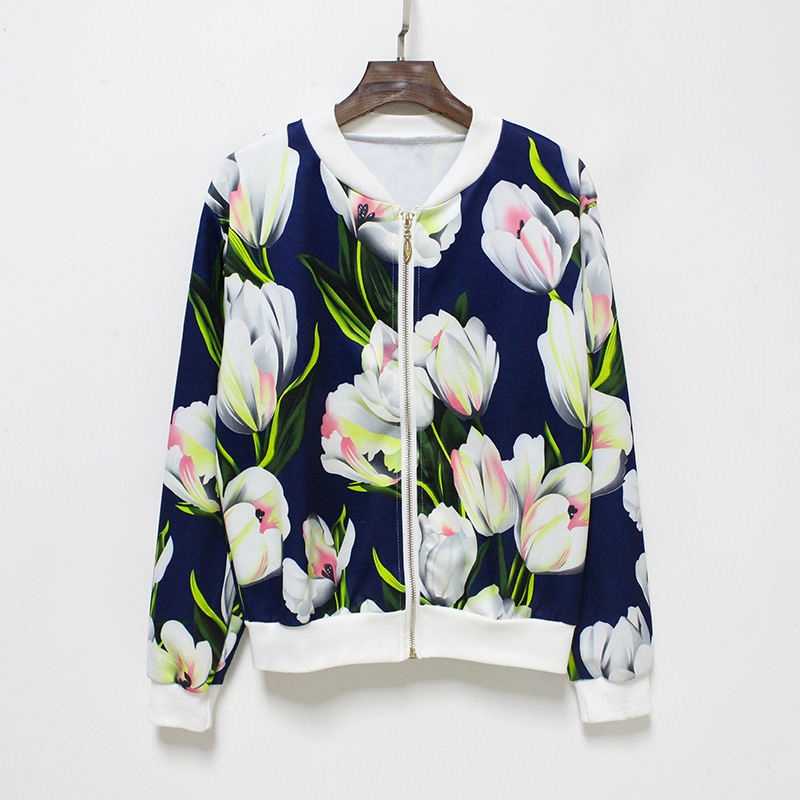 Hermicci NEW Flower Print Women Basic Coats Long Sleeve Zipper Bomber Jacket Casual Jacket Coat Autumn