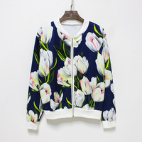 Hermicci NEW Flower Print Women Basic Coats Long Sleeve Zipper Bomber Jacket Casual Jacket Coat Autumn