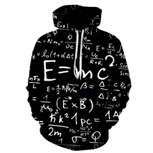 Fun math equation print Mens Hoodie 2019 Brand Quality Comfort Casual black and White Pullover Cool Students Sweatshirt