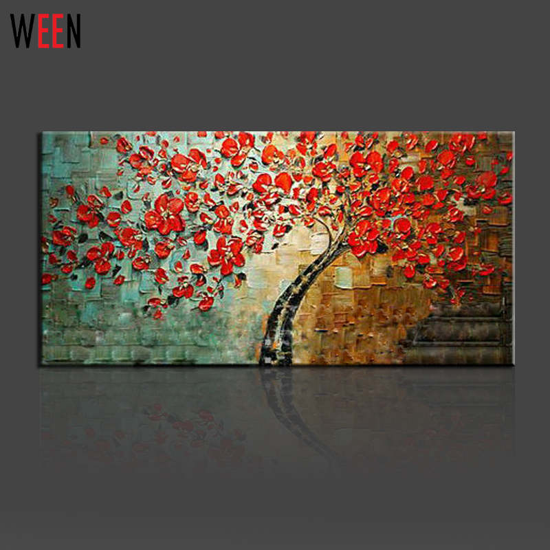 Buy hand painted palette knife art red for Peinture decorative