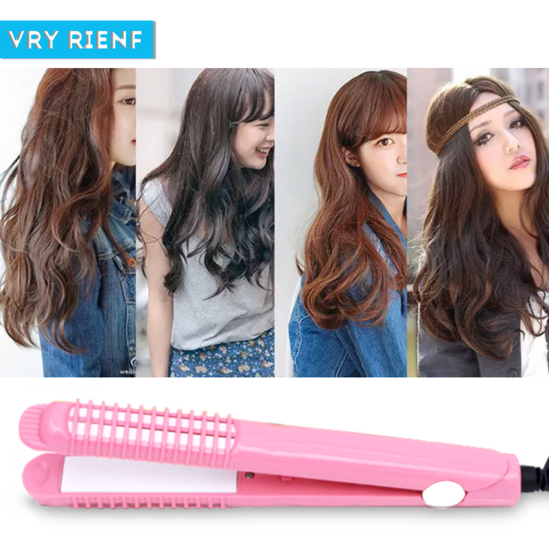 VRY RIENF Mini Hair Straightener Iron Pink Black Color Corrugate Curling Iron Professional Straight Curler Hair Electric