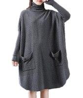 YESNO L13 Women Casual Knee Dress Sweater Pullover Plus Size Turtleneck Long Sleeve Round Hemline 2 Unique Pockets