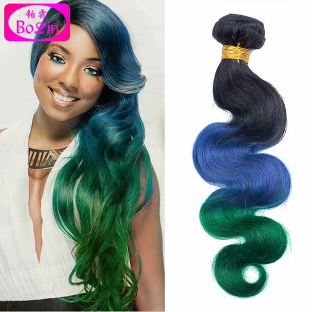 Ombre Hair Extensions 3 Tone Ombre Hair 1b Blue Green Fashionable 7a