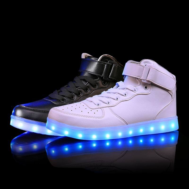 2018 Korean Men's Lights Up Led Luminous Shoes Mens High Top Casual Shoes Simulation Sole Charge Unisex Couple Adults Neon Boots 2017 women lights up led luminous shoes high top glowing boots with new simulation sole charge for adults neon basket