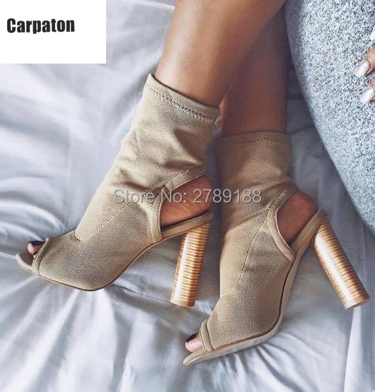 2017 hot Fashion Stretch Fabric Short Booties Chunky High Heel Shoes Woman open toe Ankle Boots Knit Sock Boots Women Pumps