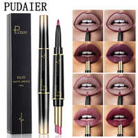 Pudaier Double Ended Lips Liner + Matte Lipstick Set Wateproof Long Lasting Nude Makeup Lip Stick Lipliner Pencil Cosmetics Pen