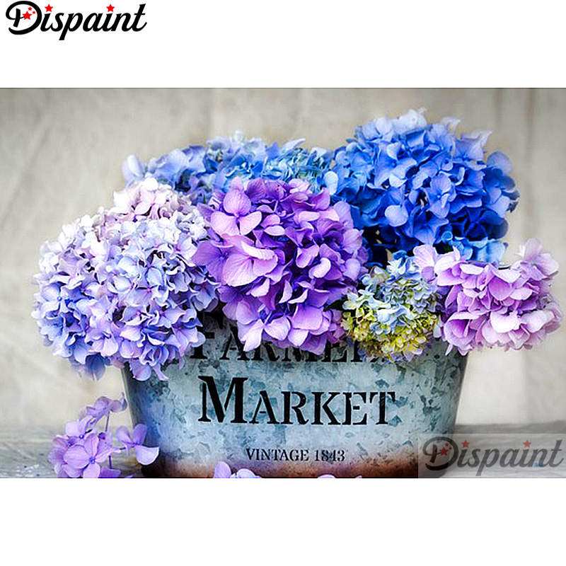 Dispaint Full Square Round Drill 5D DIY Diamond Painting quot Blue purple flower quot Embroidery Cross Stitch 3D Home Decor A12856 in Diamond Painting Cross Stitch from Home amp Garden