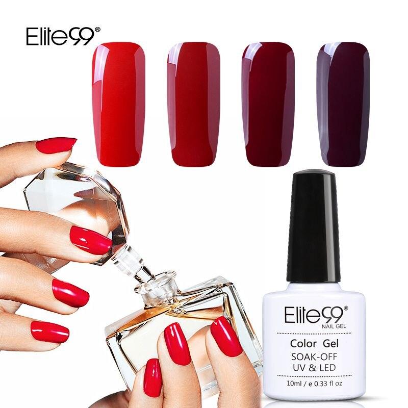 Wine Colored Nail Polish: Elite99 10ml Wine Red Elegant Nail Gel Pure Color Nail