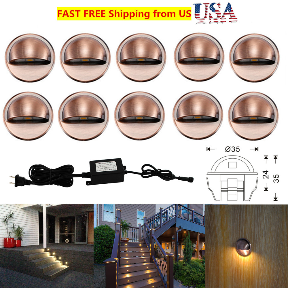Self-Conscious 10pcs/set Coppering Half Moon 35mm 12v Led Deck Step Stair Fence Lights Low Voltage Waterproof Lights & Lighting