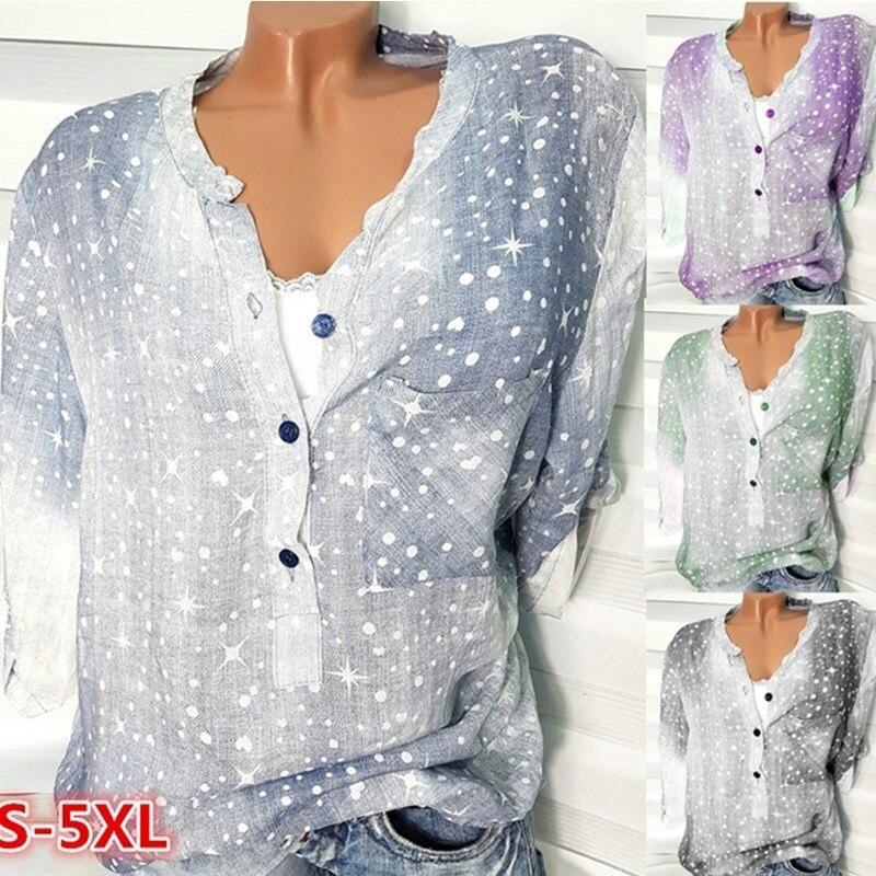 women blouse 2019 autumn basic plus size print pullover button slim fashion o-neck half sleeve female shirts vintage clothes