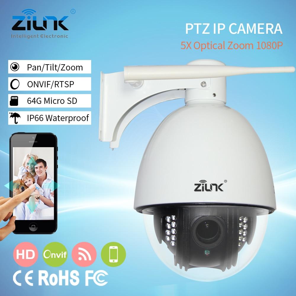 ZILNK 2MP HD Vitesse Caméra Dôme PTZ IP Caméra 5X Zoom Mise Au Point Automatique 2.8-12mm Extérieur Étanche Sans Fil réseau Onvif