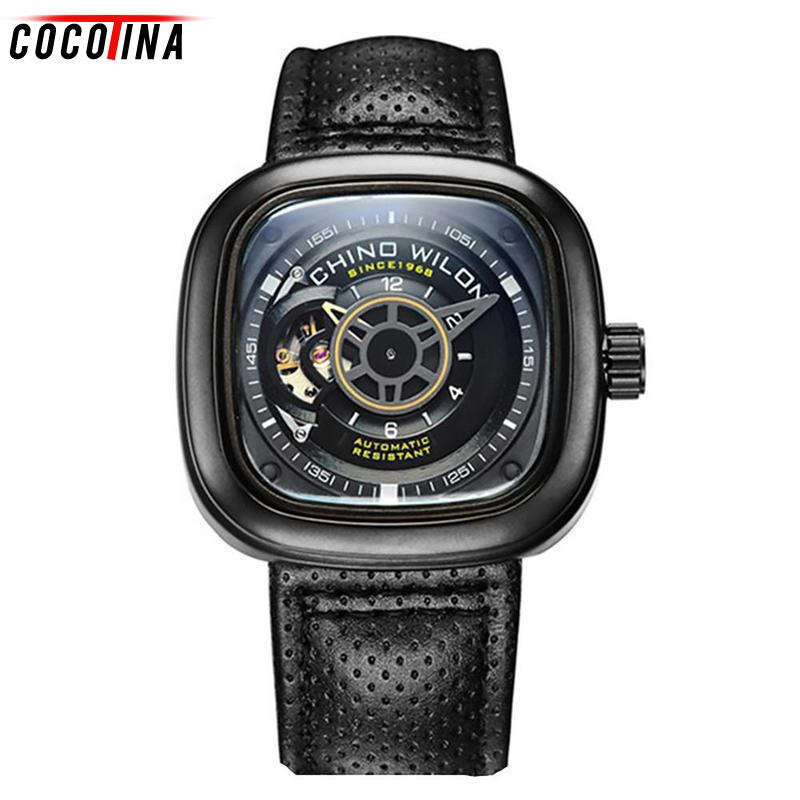 Cocotina Top Brand Luxury Mechanical Watch Men Hollow Skeleton Watch Automatic Watch Men Sports Watches Relogio Masculino new mechanical hollow watches men top brand luxury shenhua flywheel automatic skeleton watch men tourbillon wrist watch for men