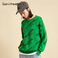Samstree Winter Loose Female Sweaters Letter Jacquard Women Knitted Pullover Lantern Sleeve Young Ladies Tops