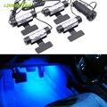 4 unids/lote Coche cubierta de asiento de la posición del pie Atmósfera Noche de La Lámpara LED de la decoración Interior de Seguridad de Conducción de hielo azul blanco para toyota kia