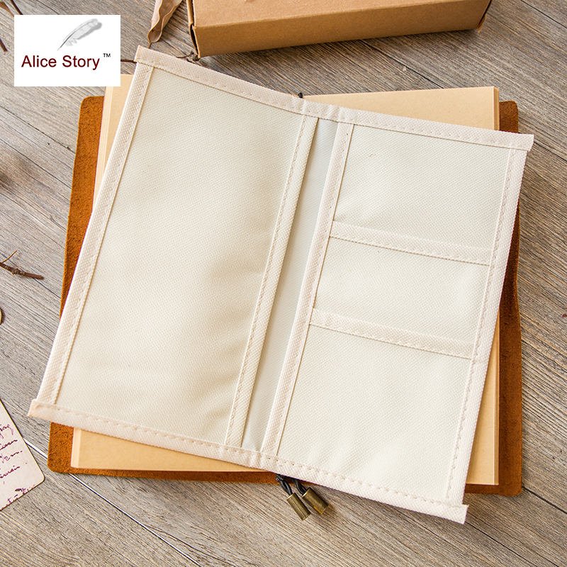 Alice Story Traveler Notebook Oxford Cloth Pocket Storage Bag L/M Size Spiral Cowhide Diary Card Bag Receive Pocket Hot Sale