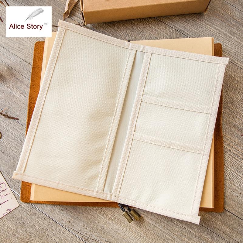 Alice Story Traveler Notebook Oxford Cloth Pocket Storage Bag L/M Size Spiral Cowhide Diary Card Bag Receive Pocket Hot Sale
