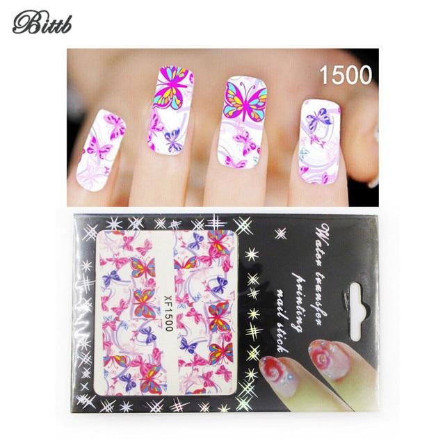 Bittb Nail Art Sticker Pink Butterfly Fingernail Beauty Make Up Nail ...