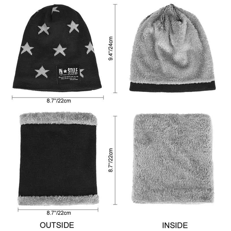SYi Qarce 2Pcs Children Warm Winter Thick Knitted Hat With Scarf Set Skullies Beanies for 6-12 Years Old Boy's Girl's
