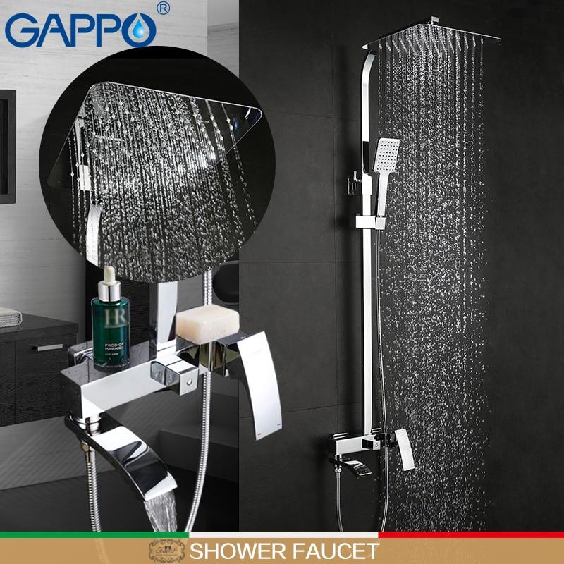 GAPPO bathroom white shower faucet shower mixer taps Rainfall Bathtub faucet shower head bath shower set bathroom faucet mixer atomizing and rainfall water function bathroom products 20 inch bath shower head thermostat bath bathroom shower faucet set