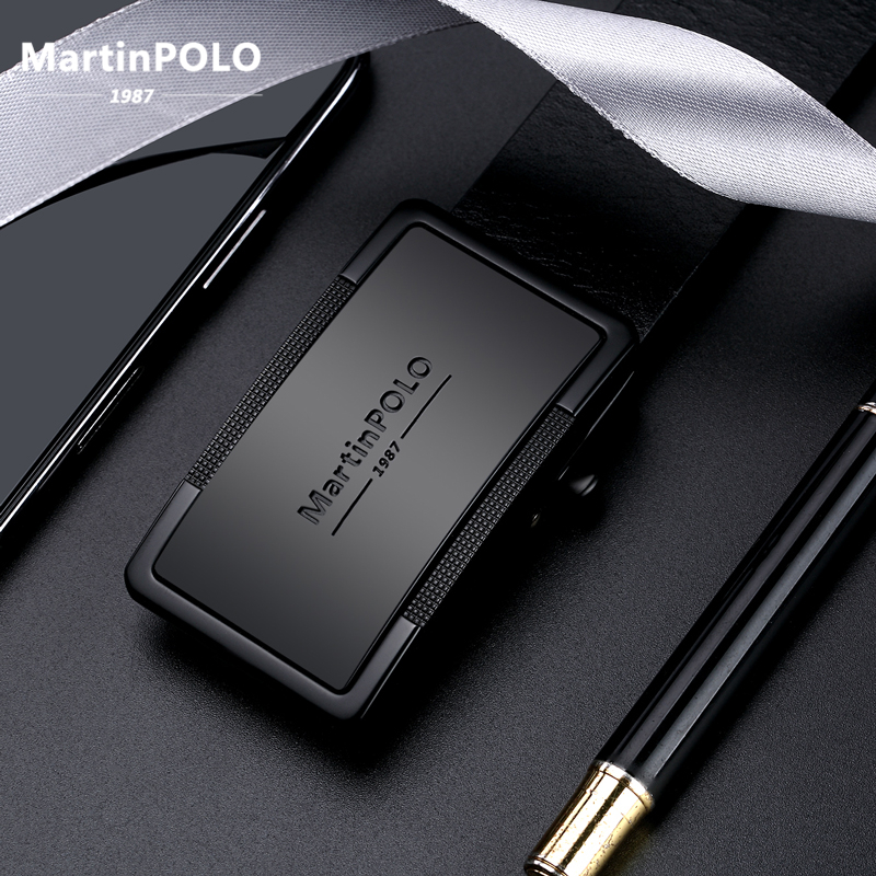 MartinPOLO New Arrival Cow Genuine Leather Men's   Belt   Cowhide Automatic Buckle   Belts   For Men Black Alloy Buckle   Belts   MP01001P