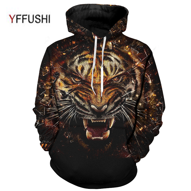 YFFUSHI 2018 New Arrival Tiger Printed Hoodies 3D Men Women Hooded Pullover Sweatshirt Outwear Novelty Pocket Coat Plus Size 5XL