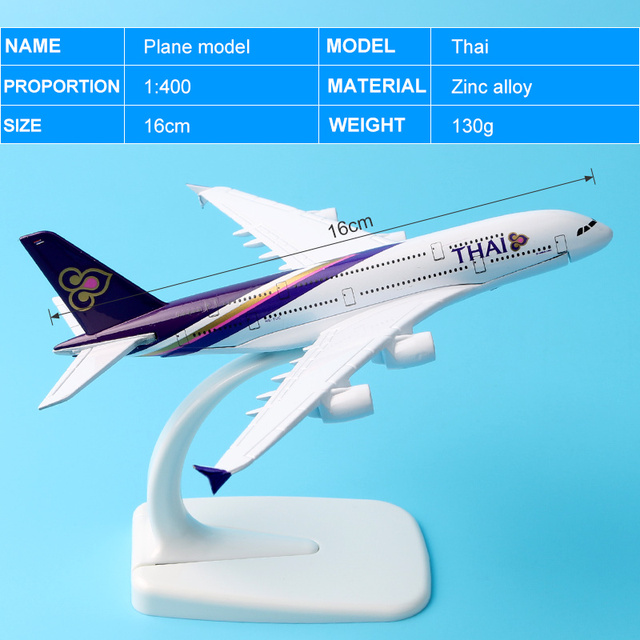 16cm Thai Airline A380 Plane Model alloy model aviation model Aircraft Thailand Airways A380 Airplane Model Stand Craft 1:400 5