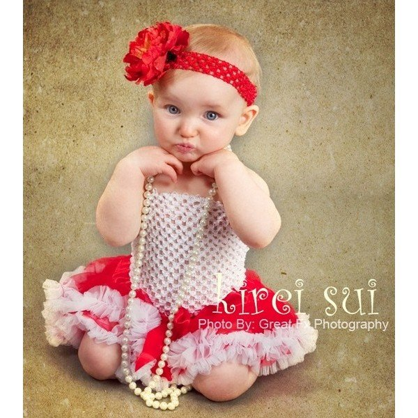 187b714246 Baby Photo Set RED WHITE Baby Infant Pettiskirt / Tutu / Skirt & WHITE  Crochet Tube Top & Red Peony Headband