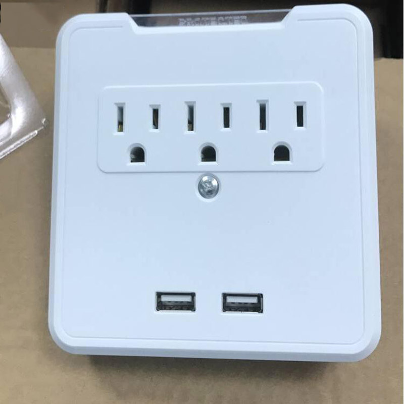 3-AC Outlet Wall Mount Surge Protector with 3-USB Charger Port