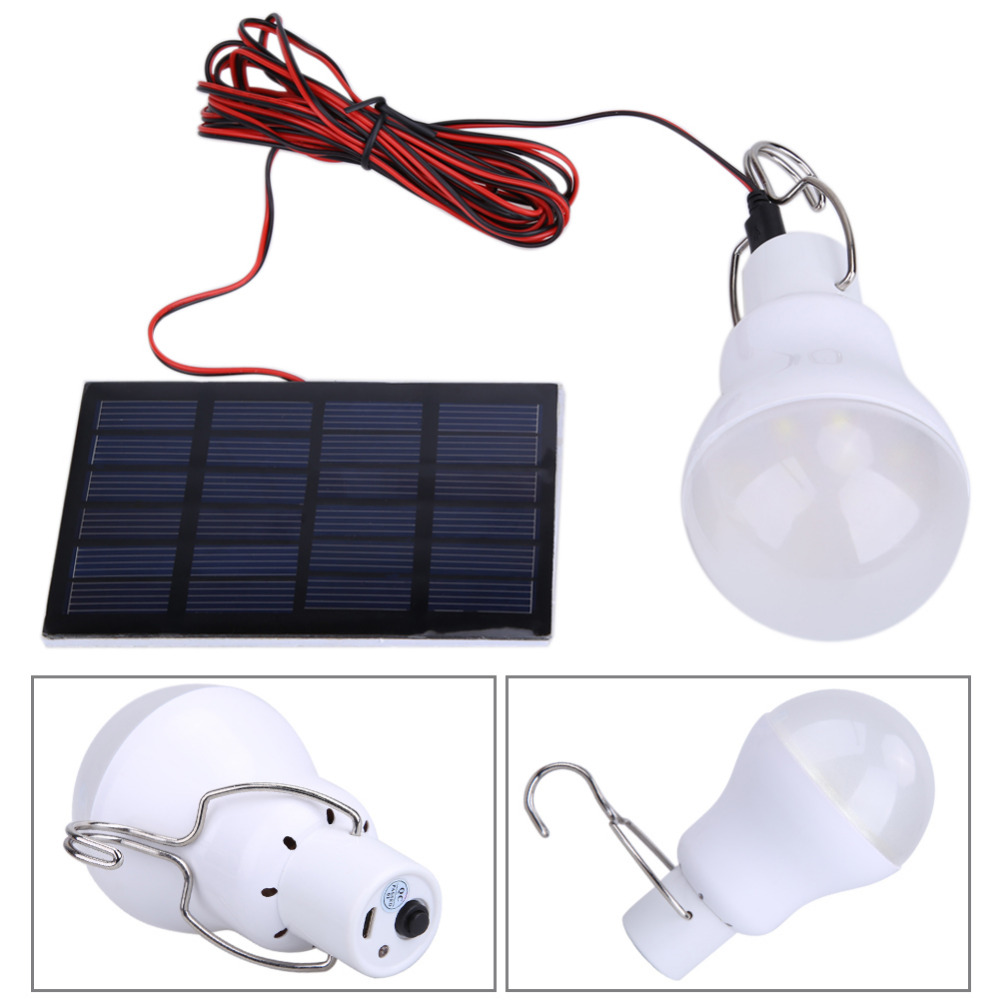 Portable Outdoor 130LM Solar Power Light USB LED Bulb Lamp Hanging Lighting Camping Tent Fishing Emergency Light