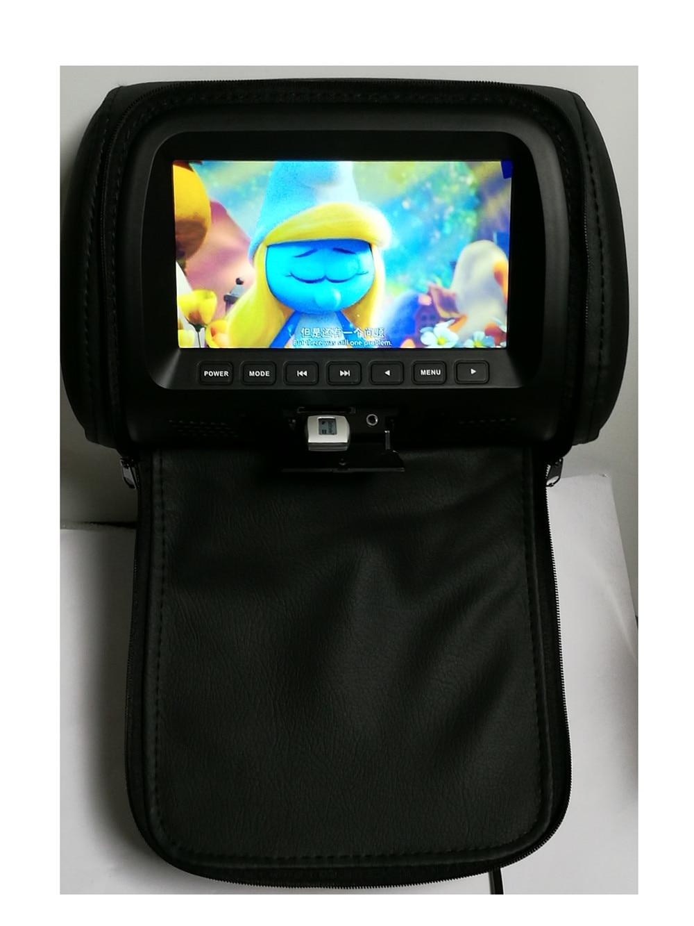 7 дюймов Автомобильный подголовник экран монитор с застежкой-молнией крышка USB и SD Функция чтения - Цвет: Black
