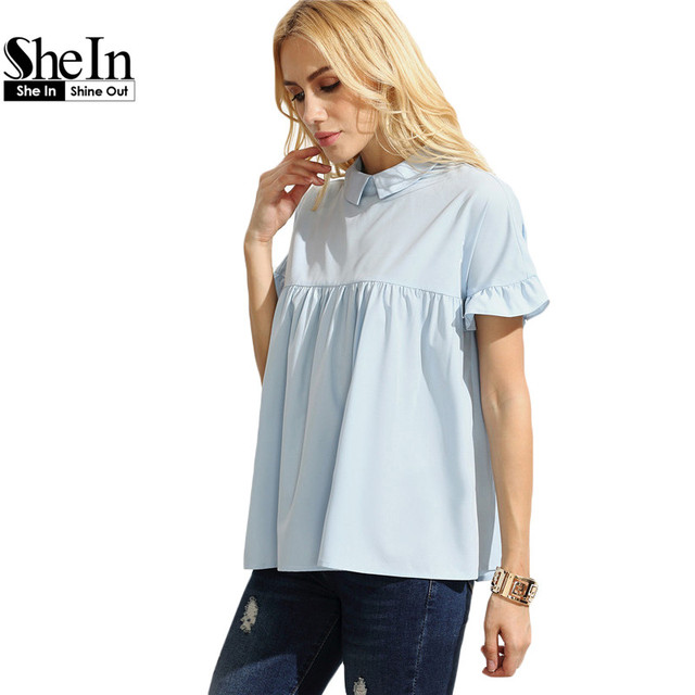 SheIn Women Summer Tops Cute Woman Clothing Ladies Plain Blue Peter Pan Collar Short Sleeve Button Back Blouse