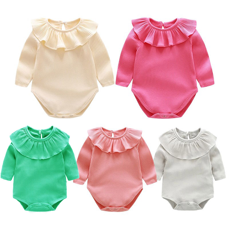 Newborn Baby Bodysuits Cotton Long Sleeve Ruffled Autumn Baby Onesies Baby Jumpsuit Long Sleeve Baby Girls Clothes plunging neck long sleeve skirted jumpsuit