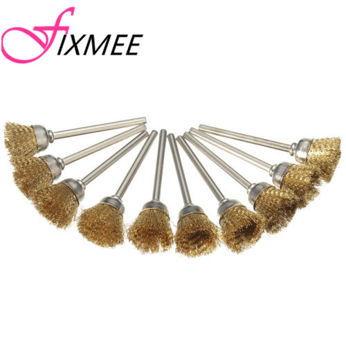 10pcs Brass Wire Wheel Polishing Cup Brushes For Rotary Dremel Grinder Tools