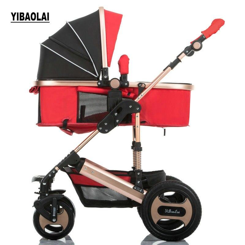 YIBAOLAI Haute paysage poussettes peut s'asseoir inclinable pliant portable nouveau-né chariot lumière de choc chariot 2 dans 1 Bébé poussette