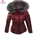 New Women Winter Coat with Silver Fox Fur Collar Long Sleeve Elegant Slim Hooed Duck Down Jacket Female Warm Women snow Coats