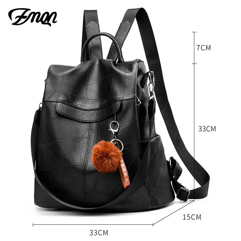Image 3 - ZMQN Backpack Women Shoulder School Bags for Teenage Girls Vintage Leather Anti Theft Backpack Mochila Mujer Back Pack Lady C106-in Backpacks from Luggage & Bags