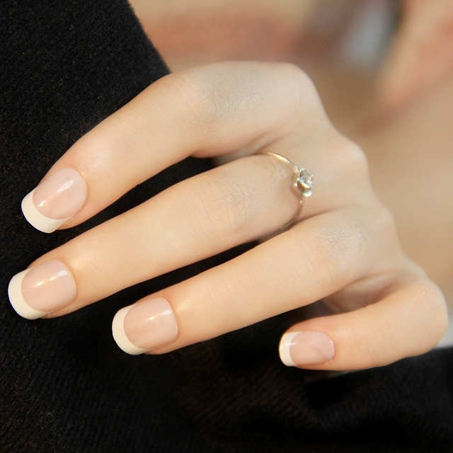 Look at all match French short square fake nails Manicure high ...