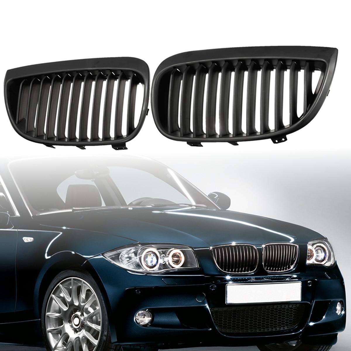Pair Matte black/Matte black M/Gloss Black /Gloss Black M Front Sport Kidney Grill Grilles for BMW E87/E81 1 Series 2004-2007
