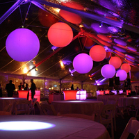 Sayok 1m /1.5m/ 2m Inflatable LED Balloons Nylon Cloth Inflatable Hanging Colorful Balls for Pub Wedding Concert Decorations