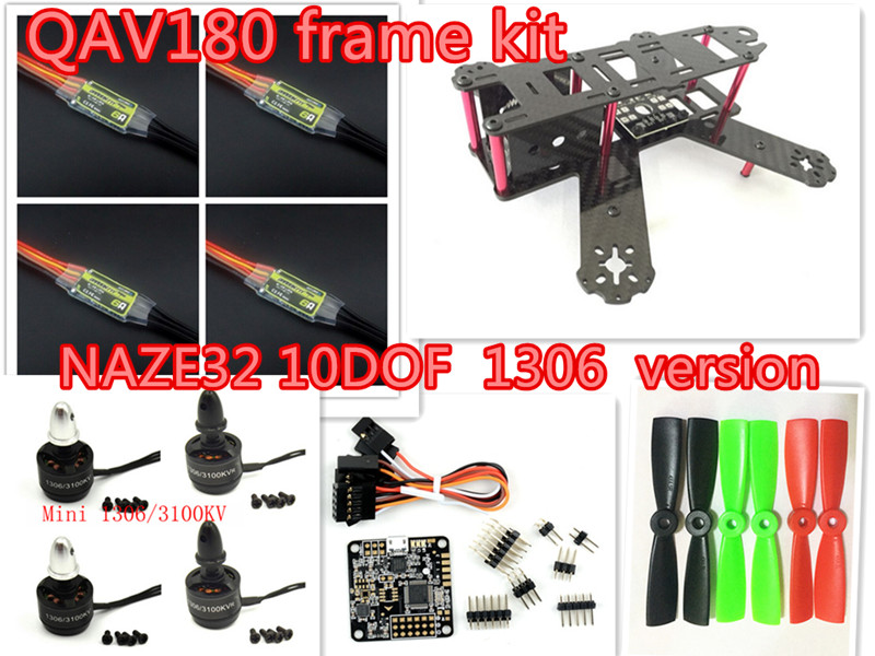 DIY mini FPV QAV180/ZMR180 cross racing quadcopter pure carbon fiber frame kit NAZE32 10DOF 1306 6A ESC version diy fpv mini drone qav180 zmr180 cross race quadcopter pure carbon frame kit naze32 10dof 1306 3100kv motor bl 6a esc opto
