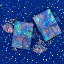 A6 A5 starry sky brief creative trend kawaii Notebook planner PU leather Unique Pendant  Journal Gift traveler Notepad 2020