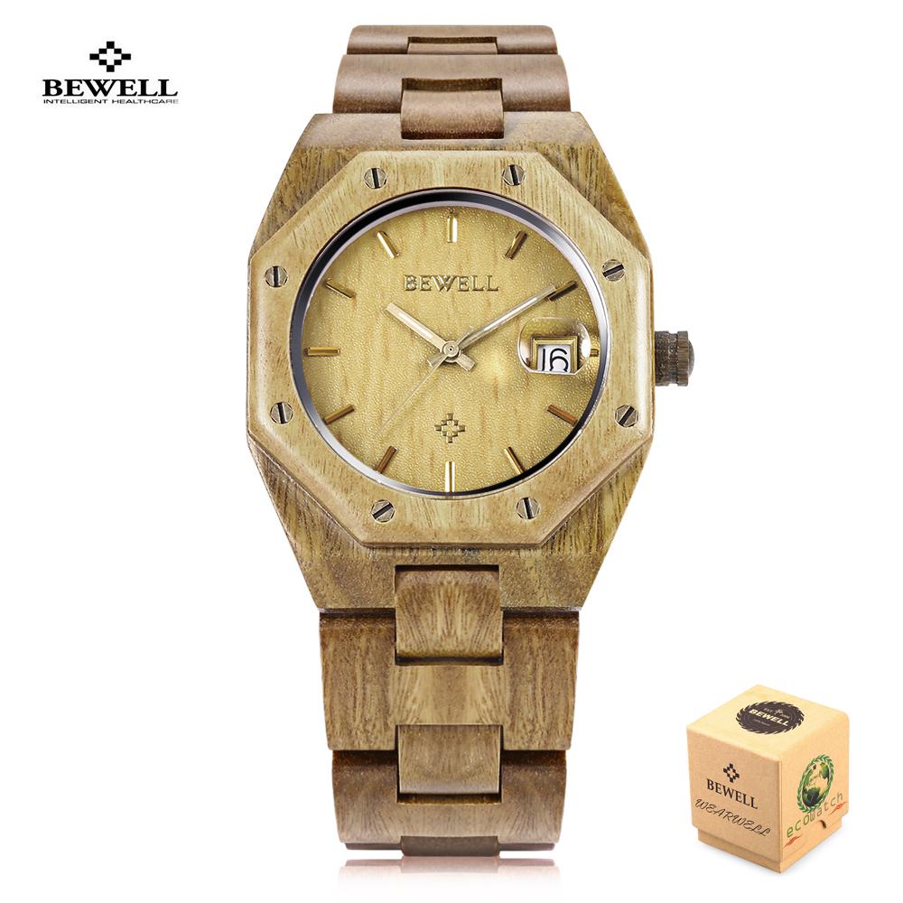 Prix pour Bewell bois montre à quartz plein bois nature montres mode hommes sport casual montre-bracelet horloge relogio masculino avec boîte-cadeau