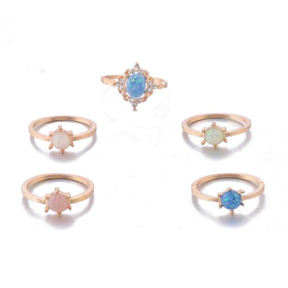 5Pcs Created Opals Women Bohemian Crystal Opal Joint Rings Set Fashion Jewelry rings for women