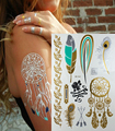 Hot Temporary tattoo Gold tattoo Flash Tattoos Metallic Sex Products jewelry Butterfly India flowers Body art tatto stickers