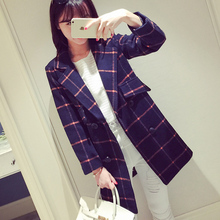 2016 new winter women's wool coat dress fashion in the long section of the code's Plaid Wool Coat